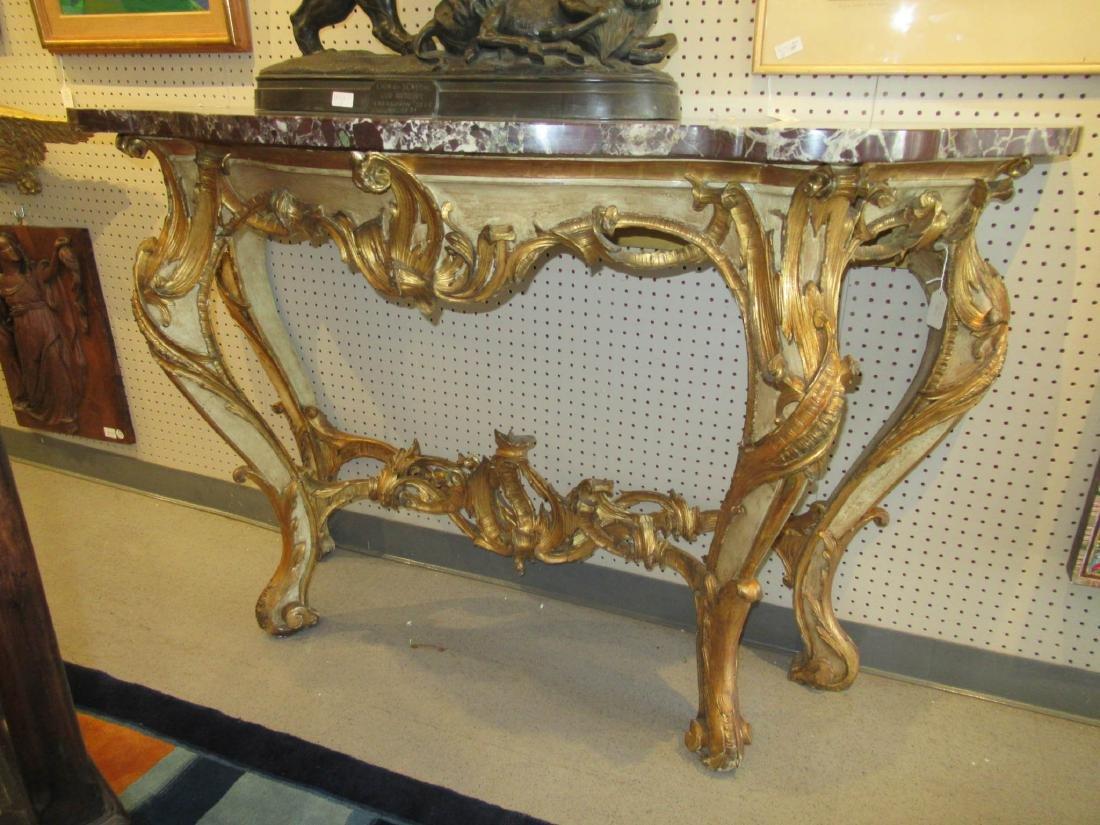 Italian Rococo Gilt, Creme Peinte Console Table - 9