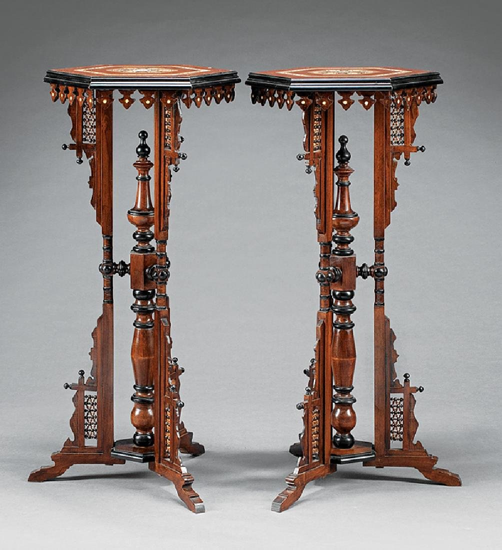 Moorish Inlaid, Parcel Ebonized Mahogany Stands