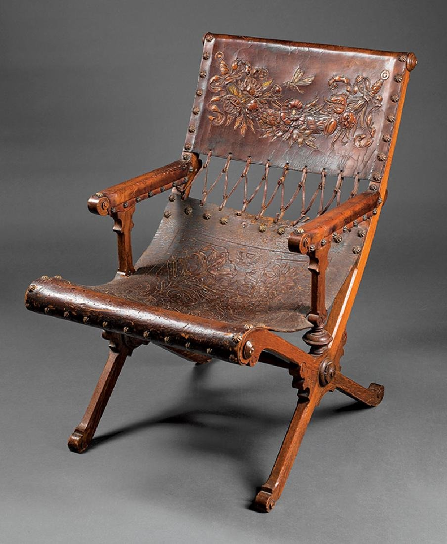 Mexican Carved Oak Campeche Chair