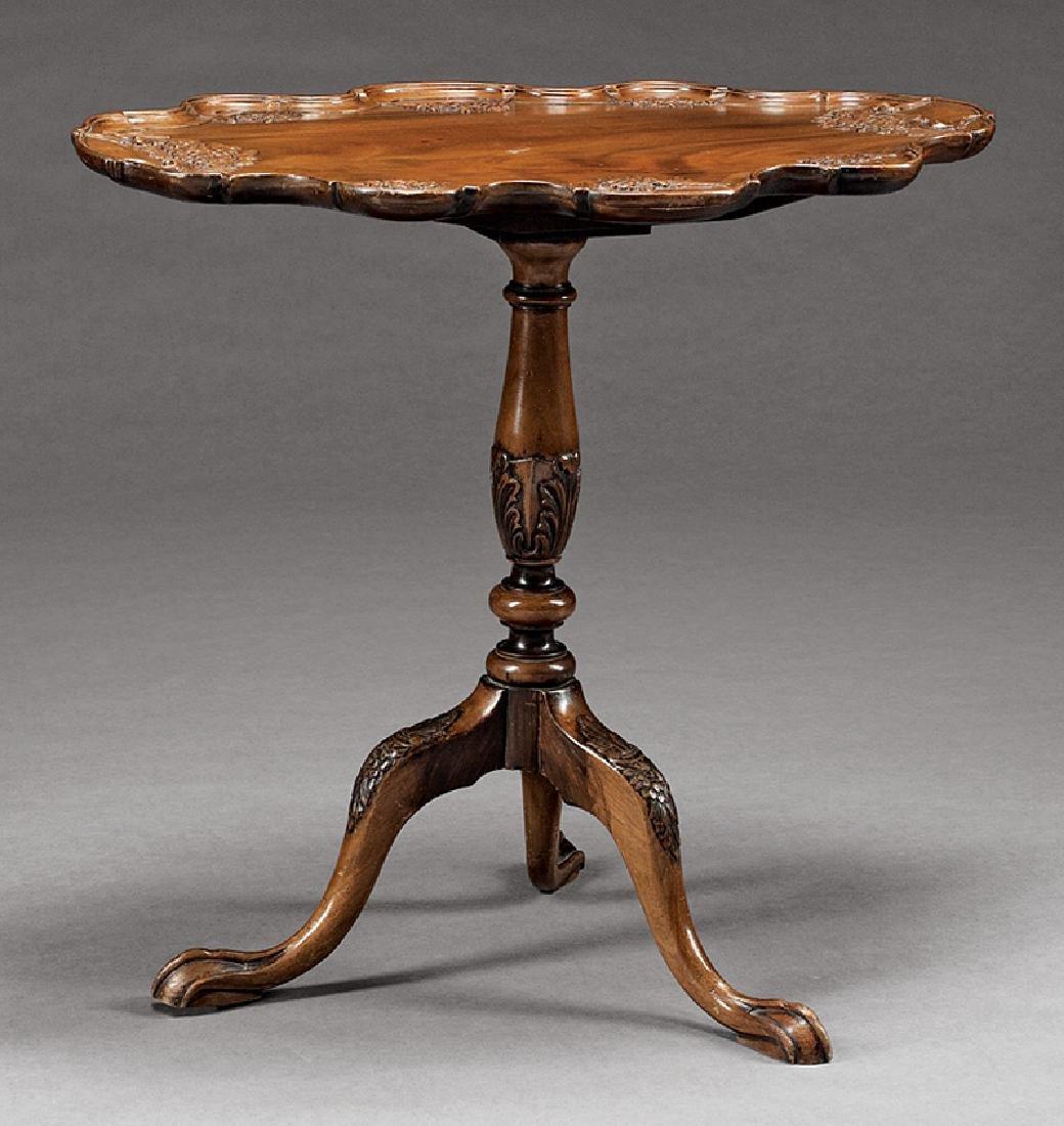 Irish Carved Mahogany Tilt-Top Table