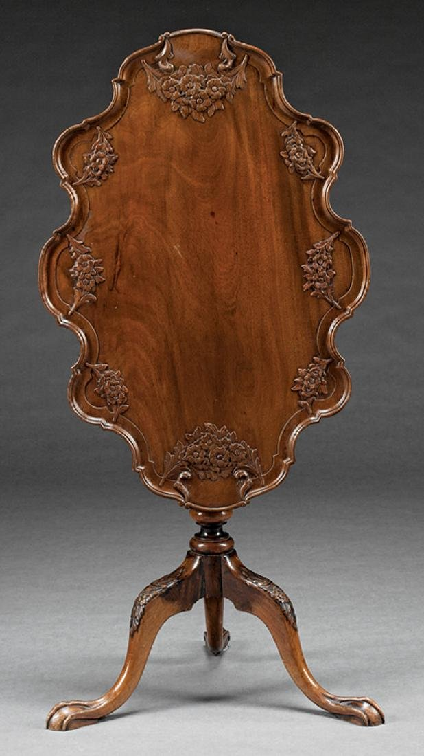 Irish Carved Mahogany Tilt-Top Table - 2