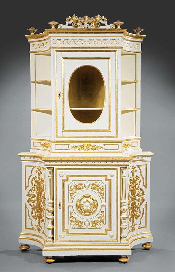 Carved and Gilt Decorated Creme Peinte Cabinet