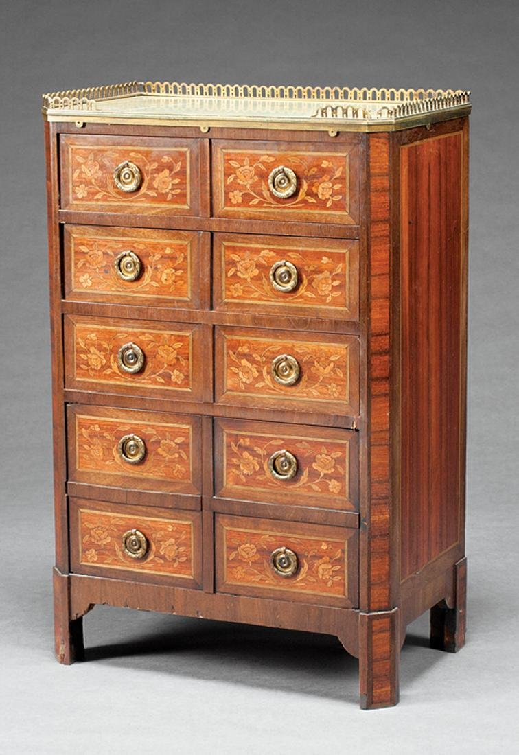 French Inlaid Mahogany, Rosewood Petite Commode