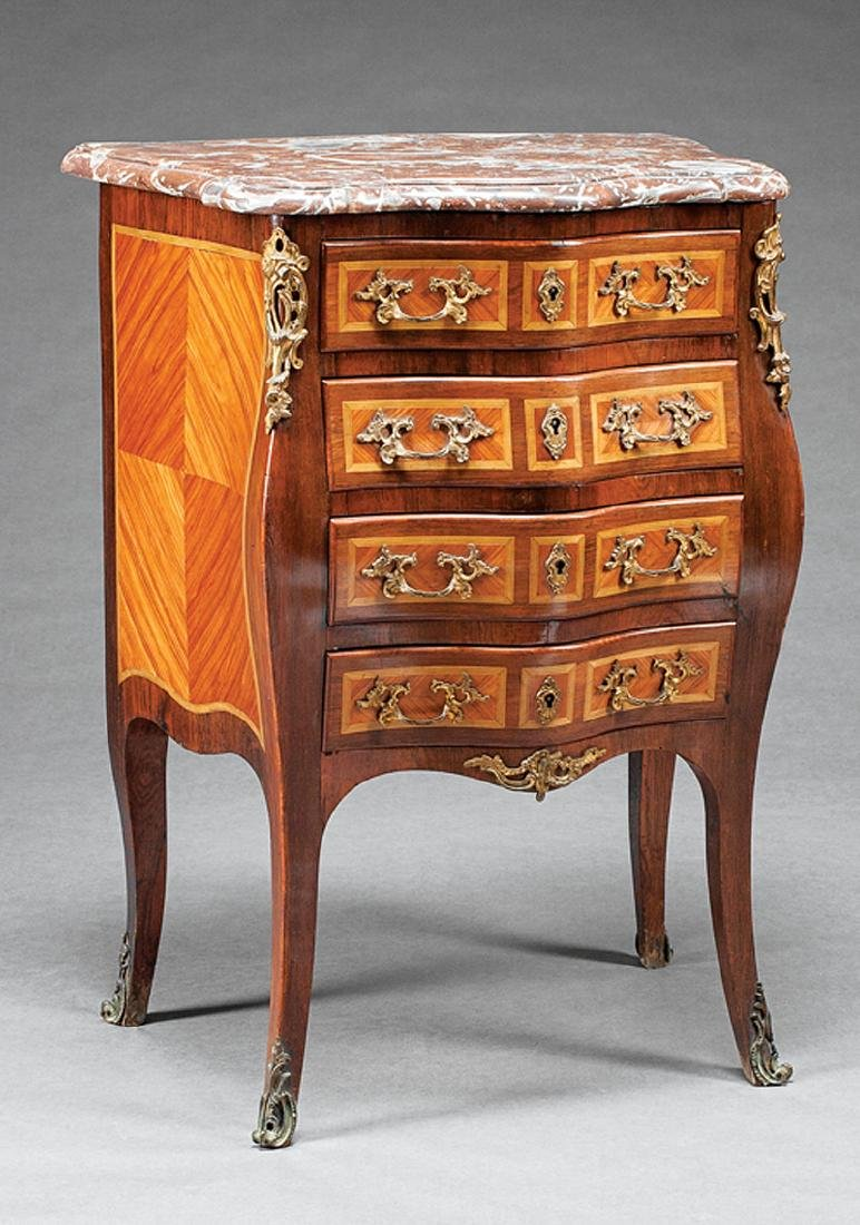 Bronze-Mounted Parquetry Petite Commode