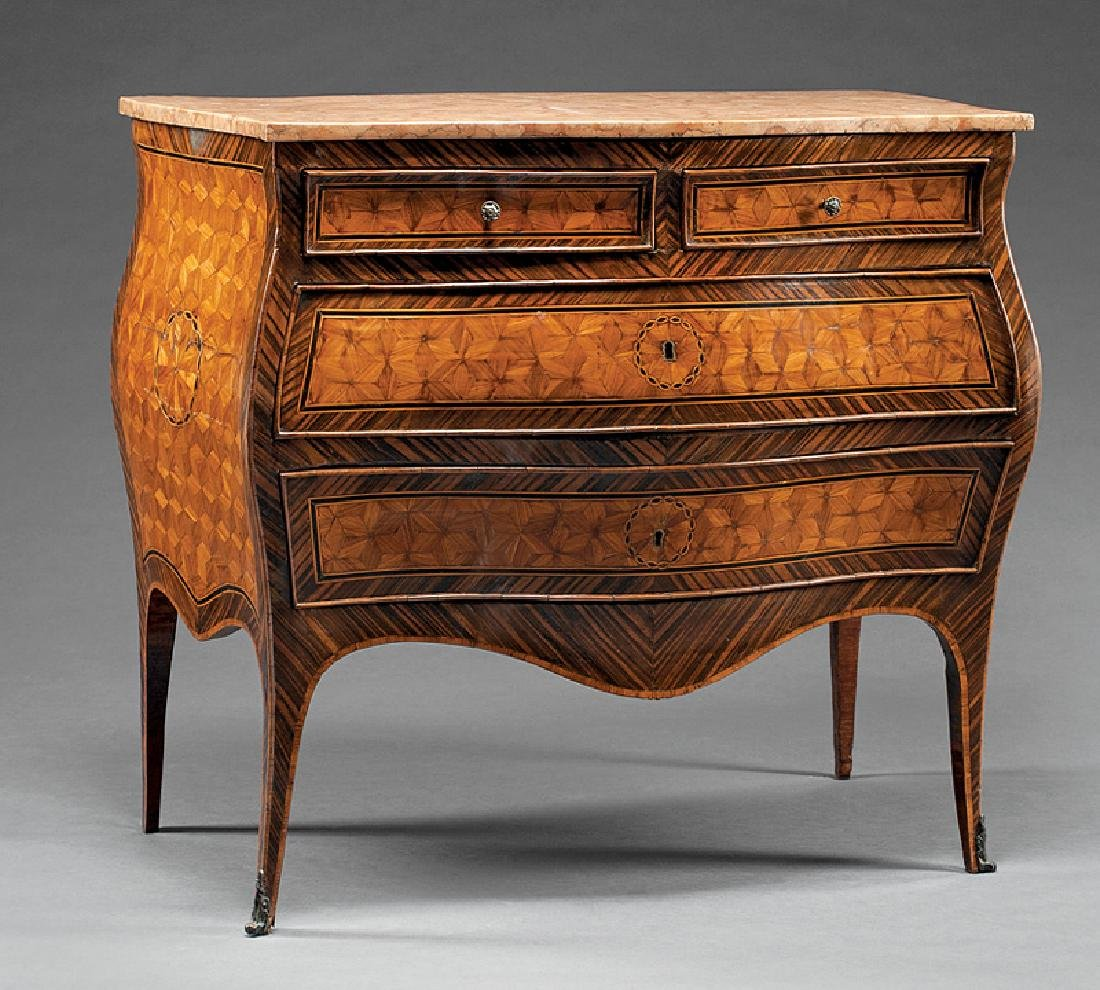 Austrian Parquetry and Zebrawood Bombe Commode