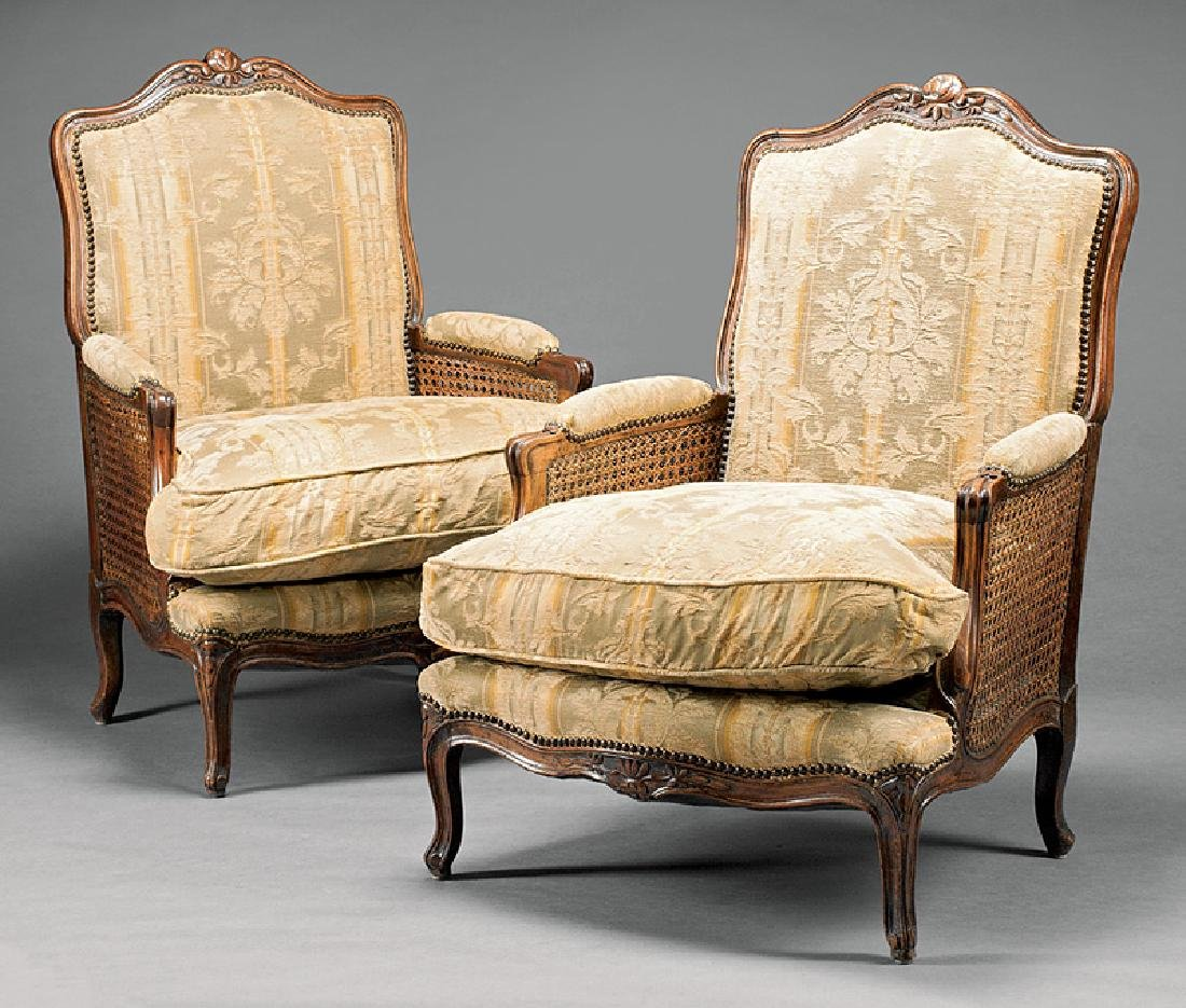 French Provincial Carved Walnut, Caned Bergeres