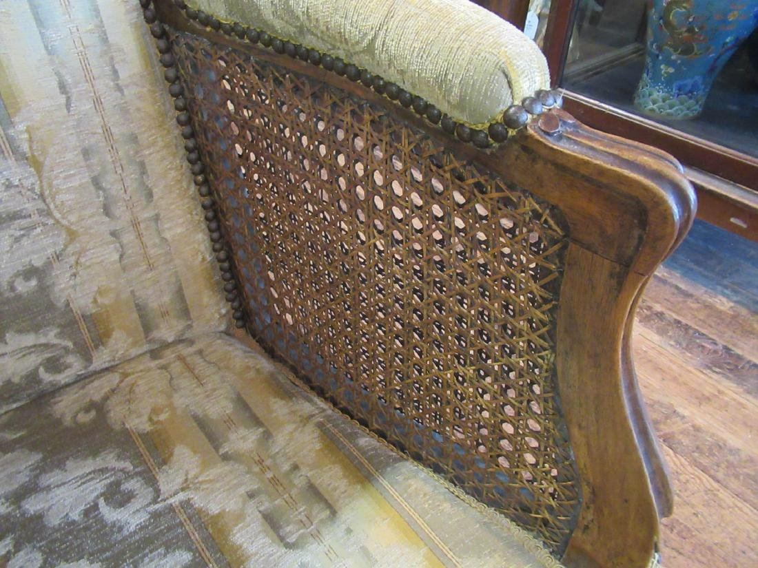 French Provincial Carved Walnut, Caned Bergeres - 5