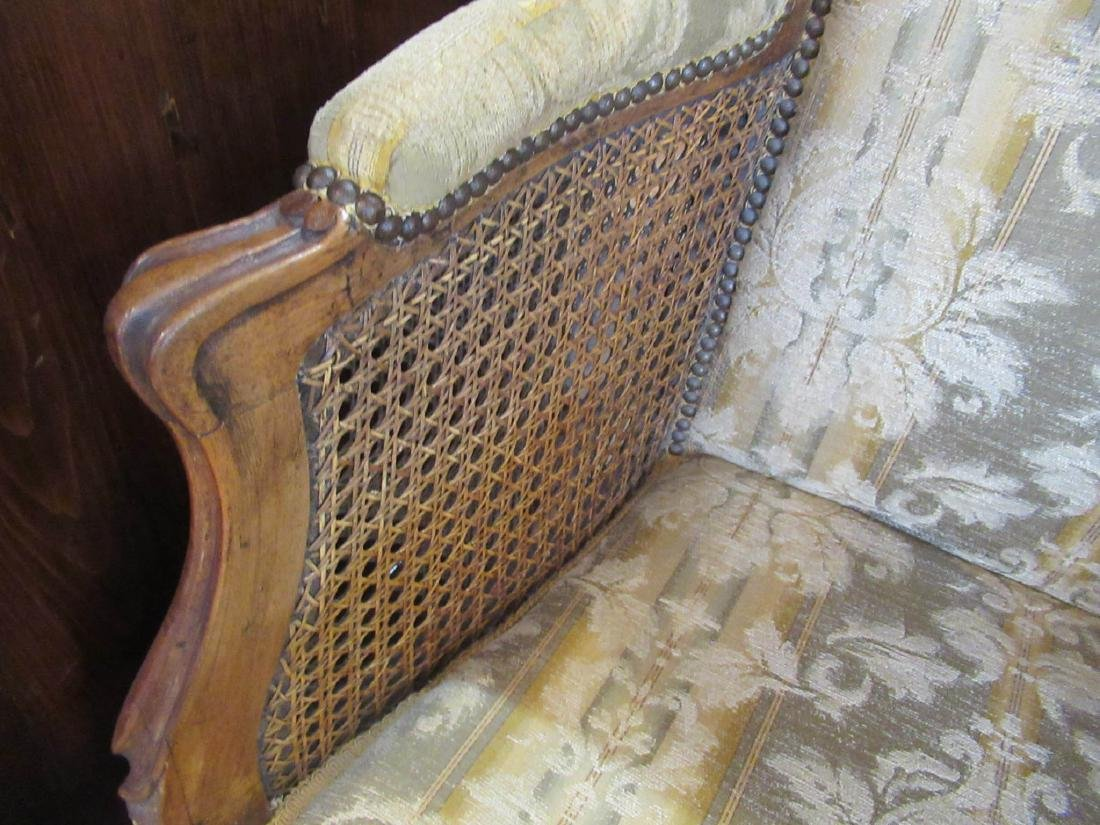 French Provincial Carved Walnut, Caned Bergeres - 6