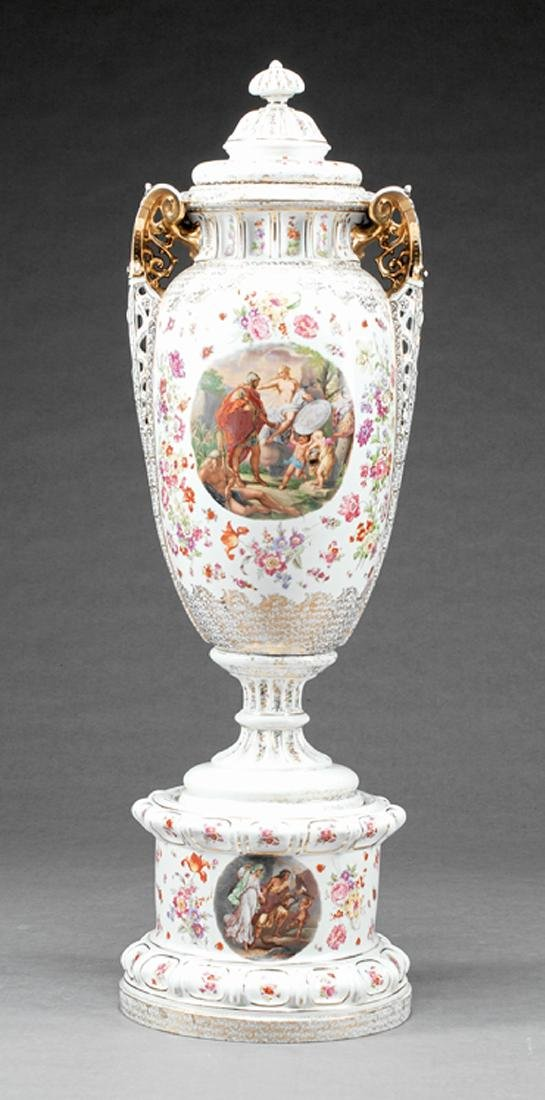 Monumental German Porcelain Covered Vase on Stand