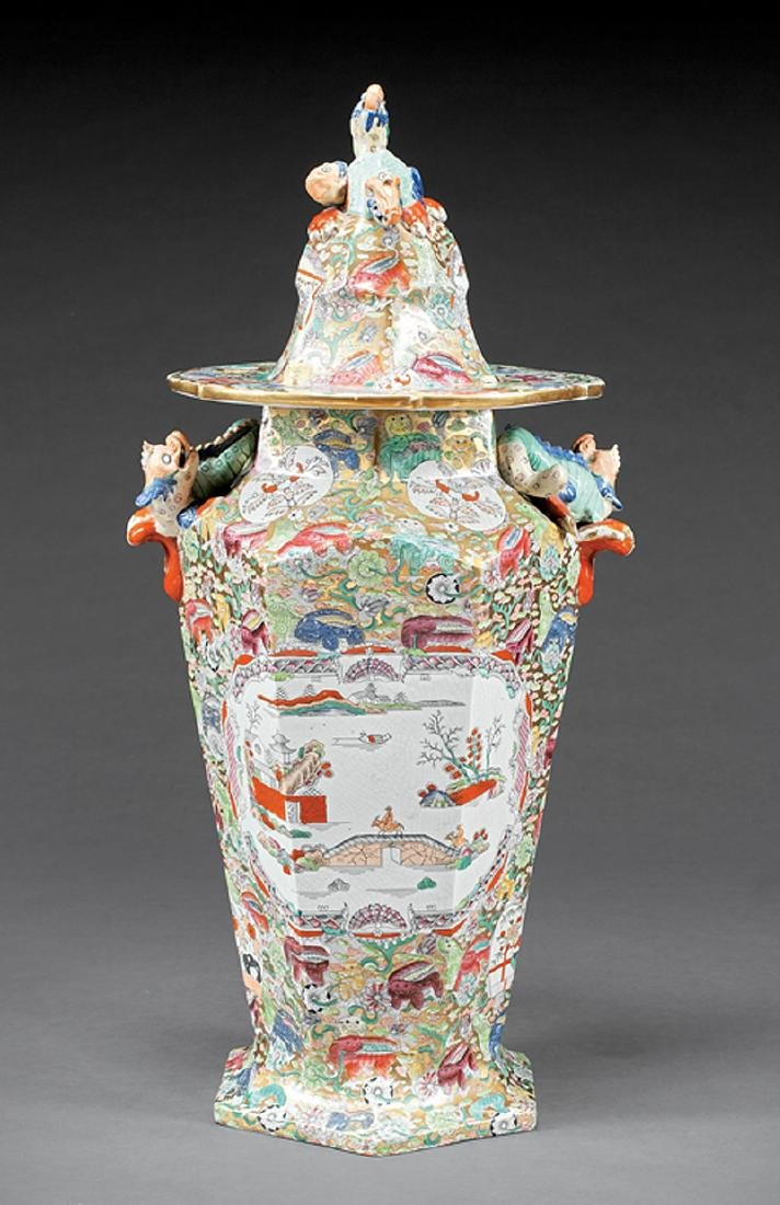 Monumental English Ironstone Covered Jar