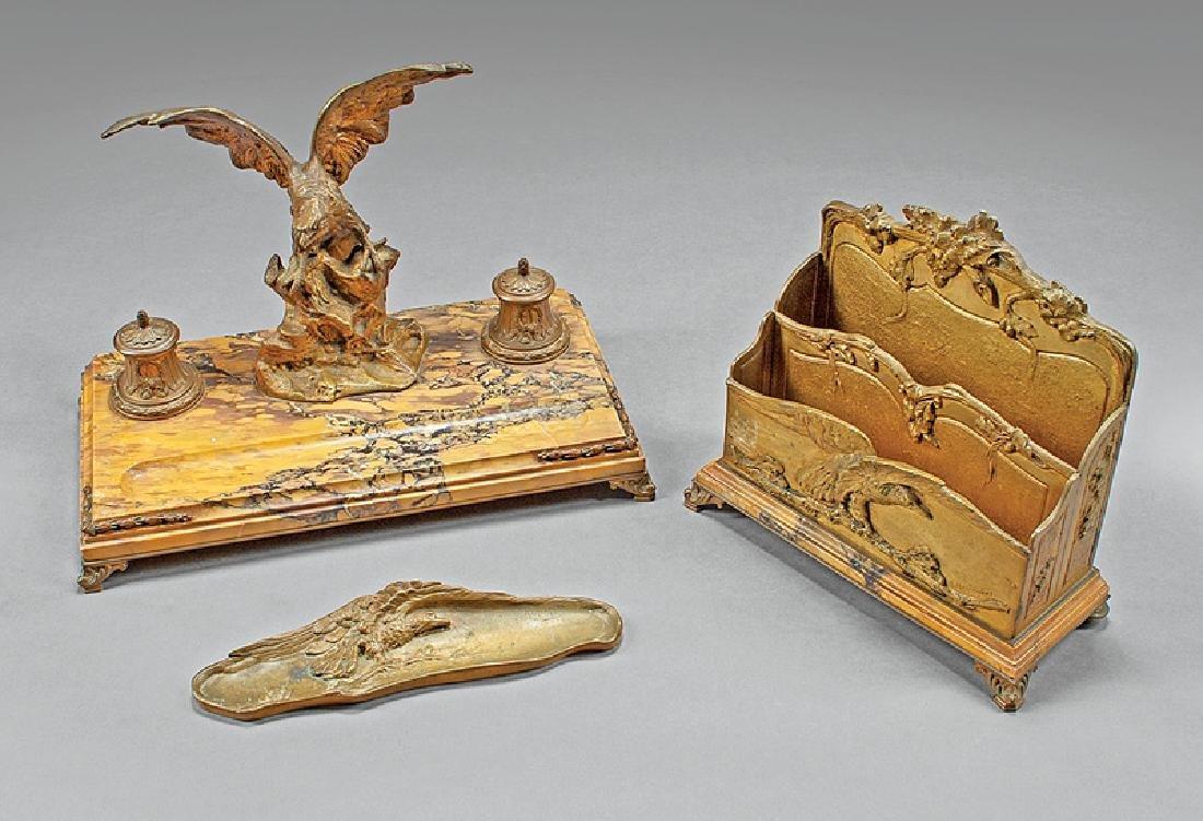 Napoleon III Bronze, Sienna Marble Desk Garniture
