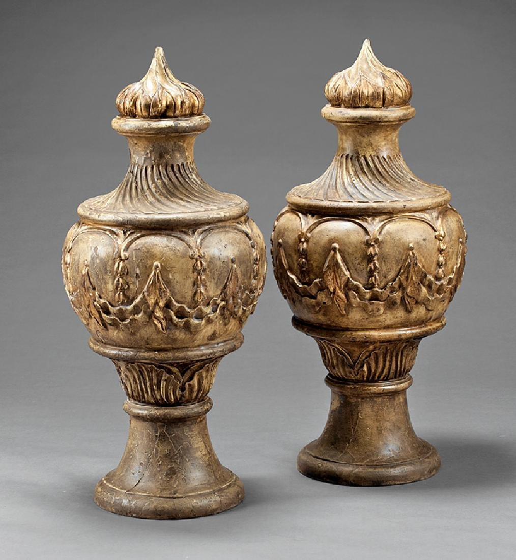 Carved, Painted and Gilded Carved Wood Finials
