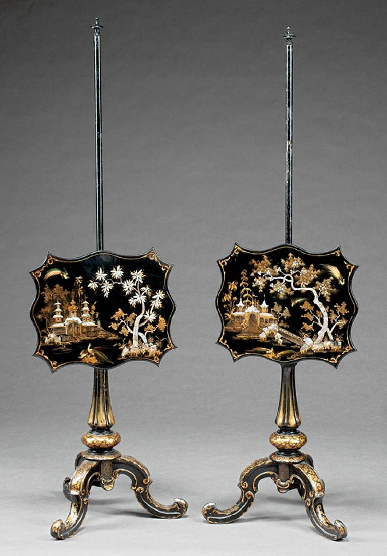 English Black Lacquer, Gilt, Inlaid Pole Screens