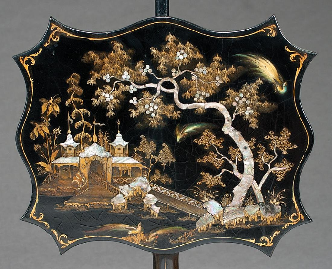 English Black Lacquer, Gilt, Inlaid Pole Screens - 2