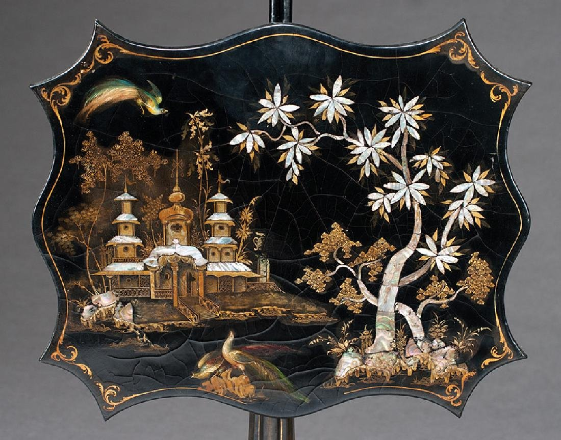English Black Lacquer, Gilt, Inlaid Pole Screens - 3