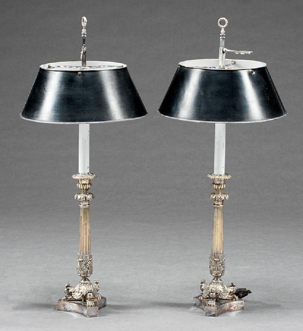 Neoclassical-Style Silverplate Candlestick Lamps