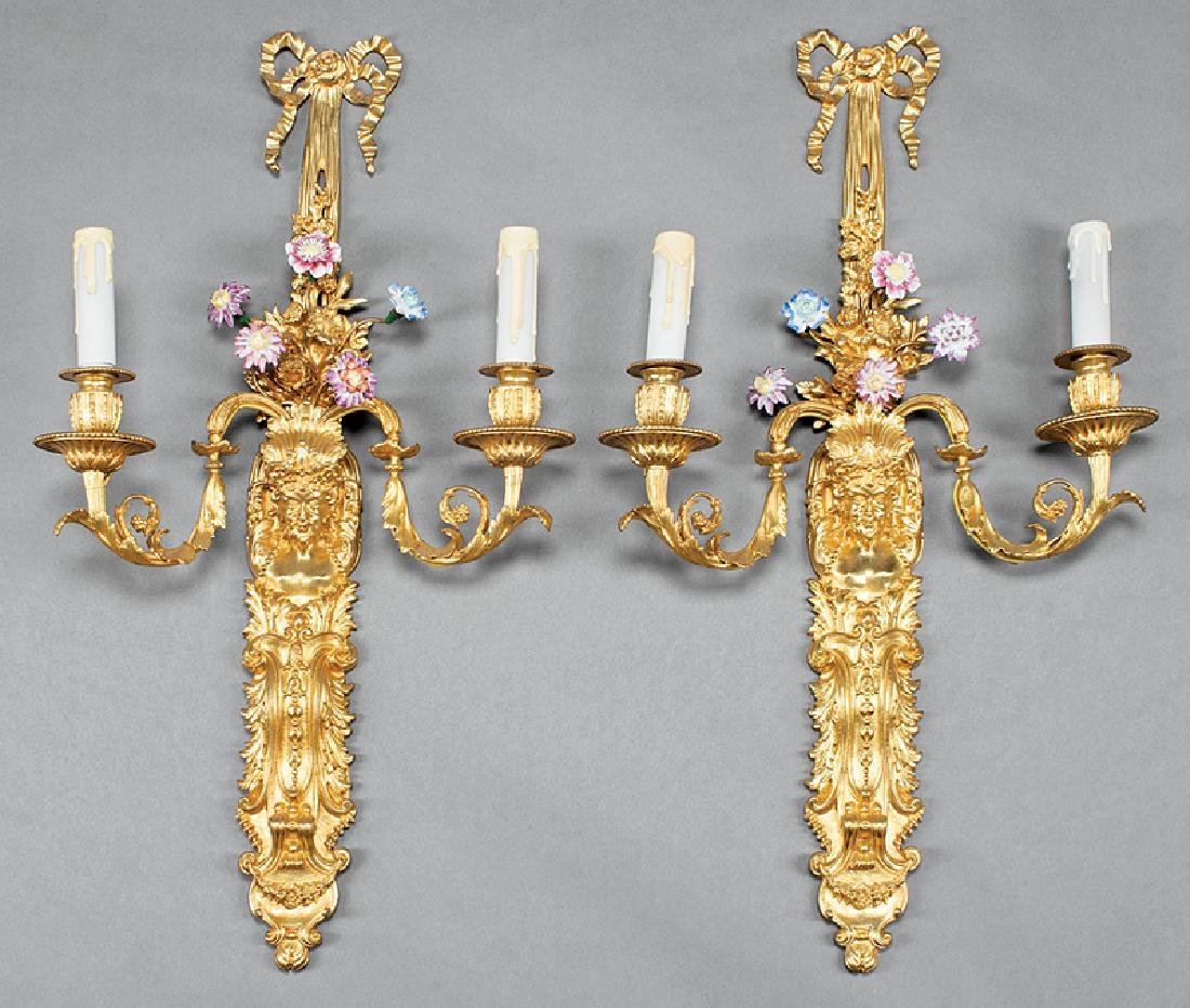 Gilt Bronze and Porcelain Two-Light Wall Sconces