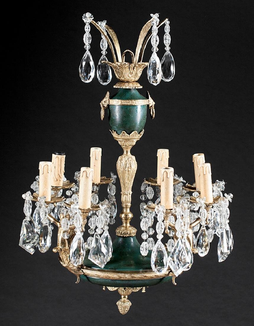 Bronze, Tole Peinte, Cut Crystal Chandelier