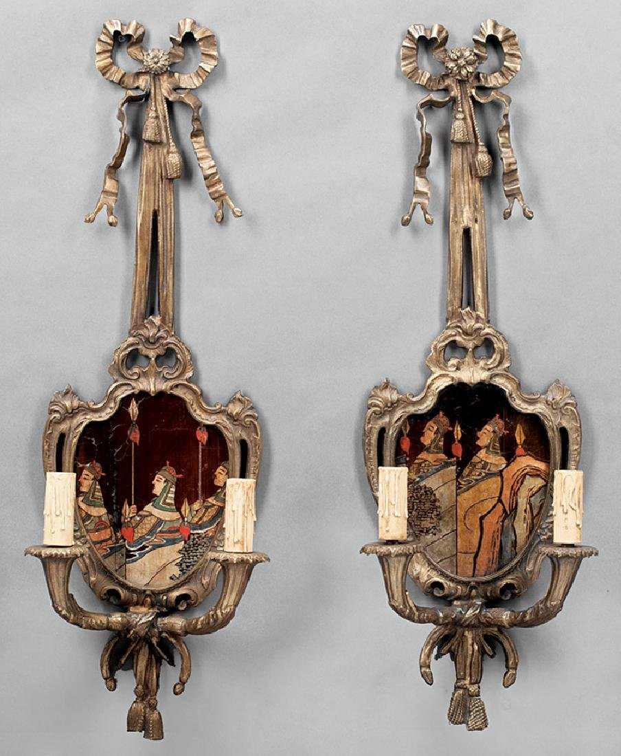 Pair of French Patinated Bronze Two-Light Sconces