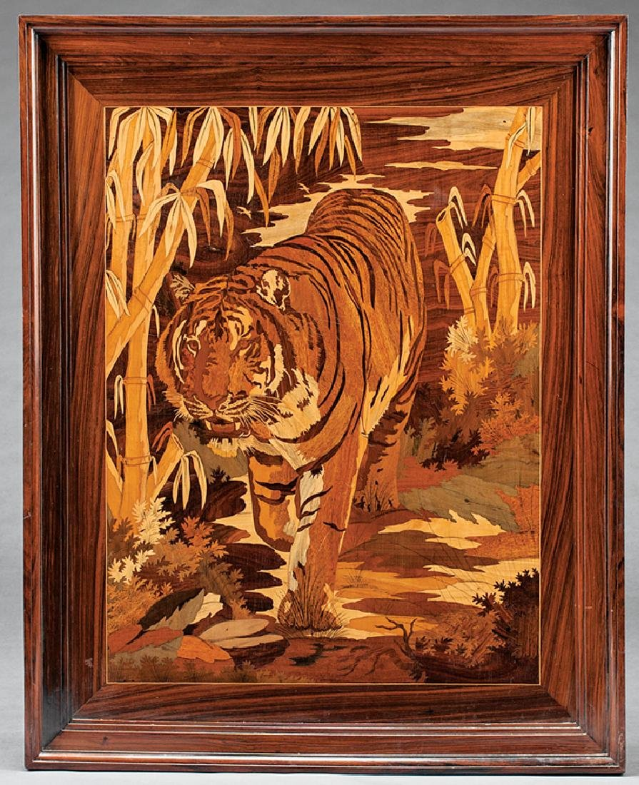 Good Marquetry Plaque of a Tiger