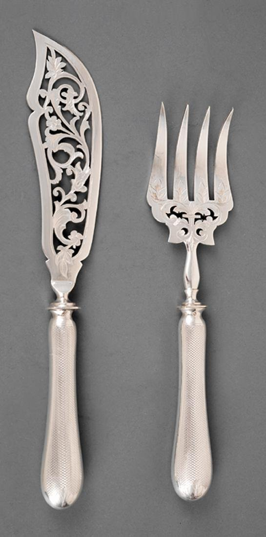 French Silver Fish Serving Knife and Fork
