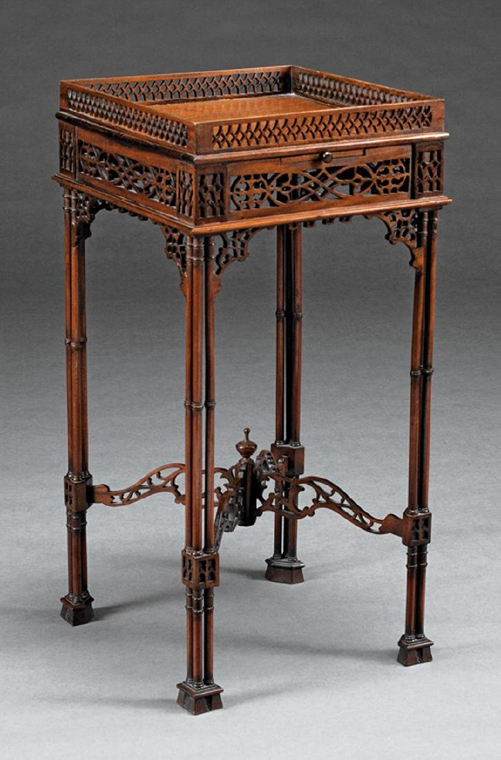 Chippendale-Style Carved Mahogany Kettle Stand