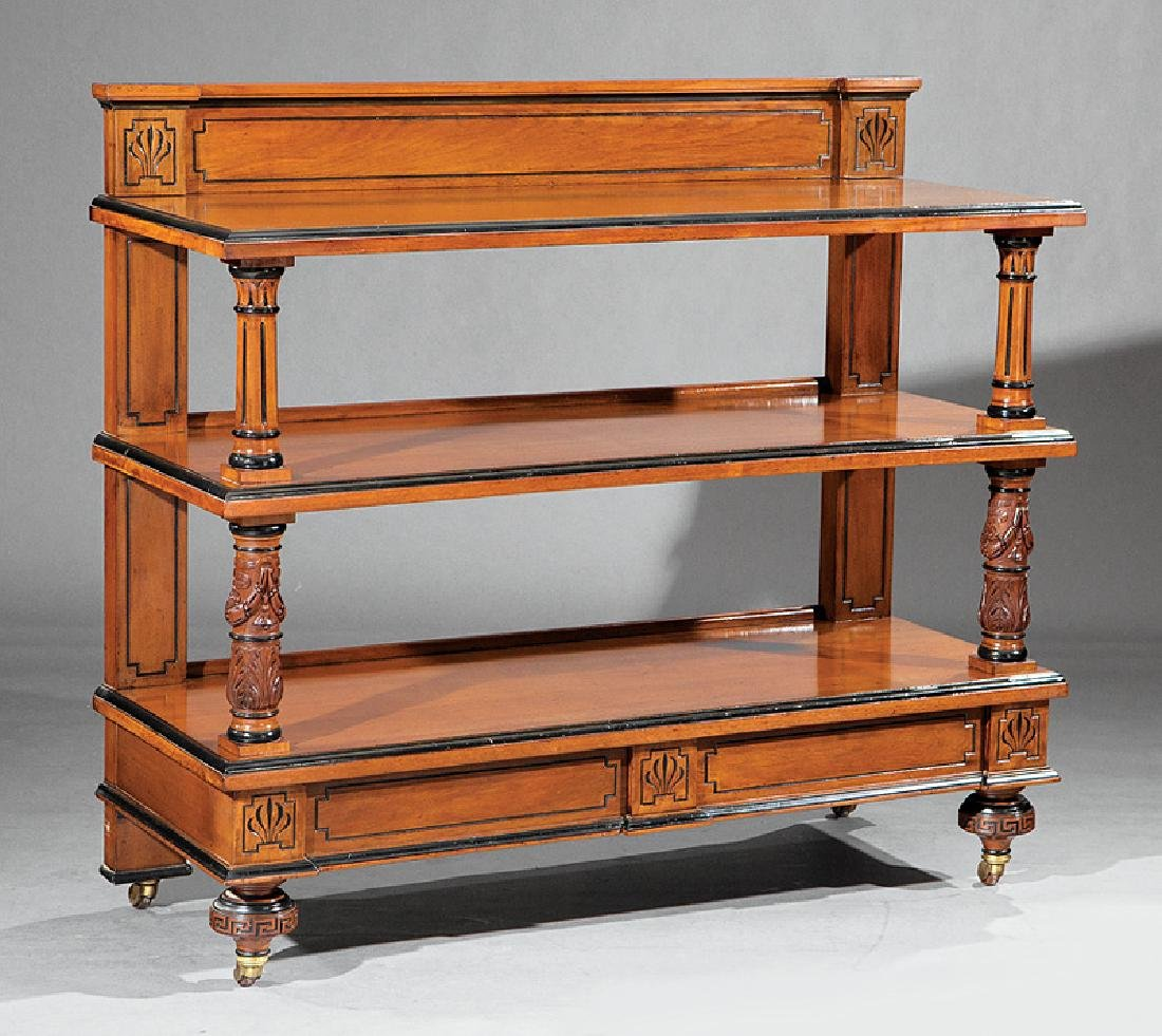 Mahogany and Parcel Ebonized Serving Trolley