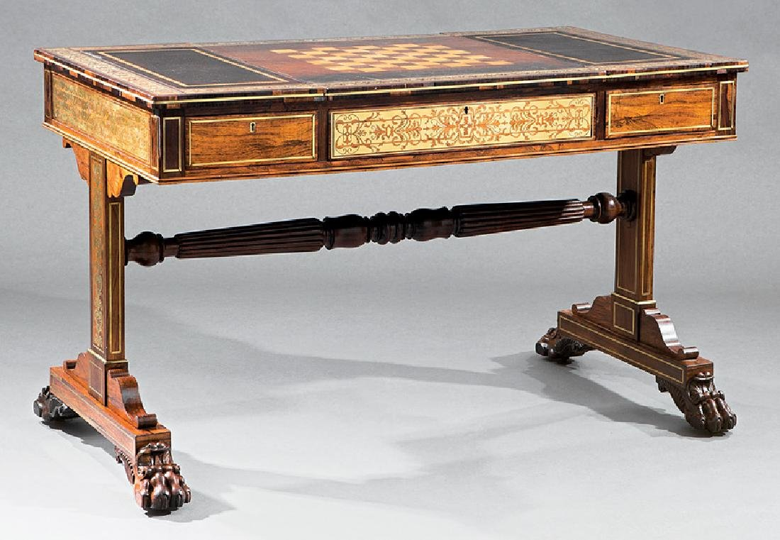 Regency Brass Inlaid Rosewood Games Table - 2