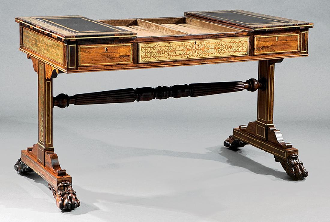 Regency Brass Inlaid Rosewood Games Table - 3