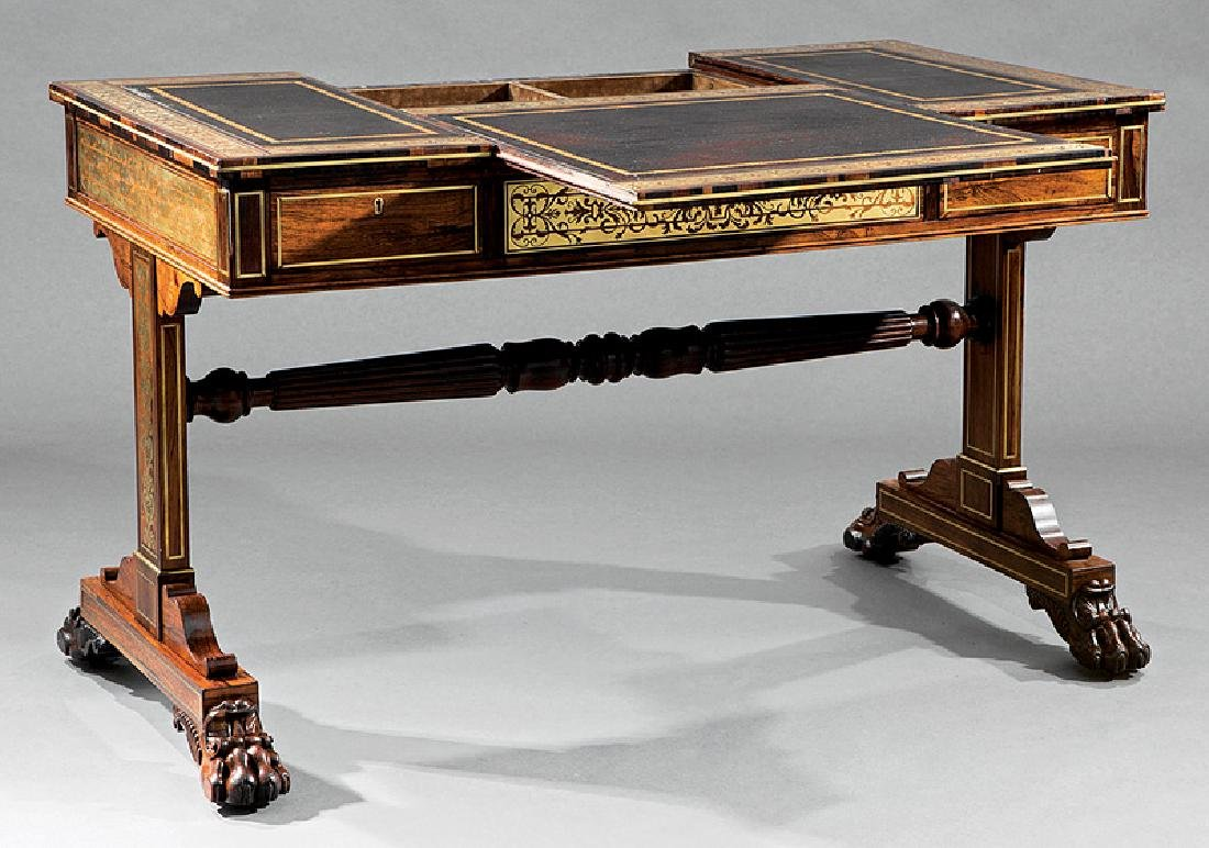 Regency Brass Inlaid Rosewood Games Table - 4