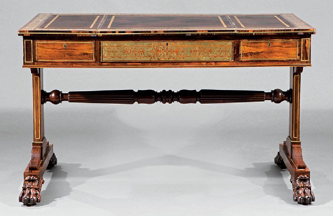 Regency Brass Inlaid Rosewood Games Table - 5