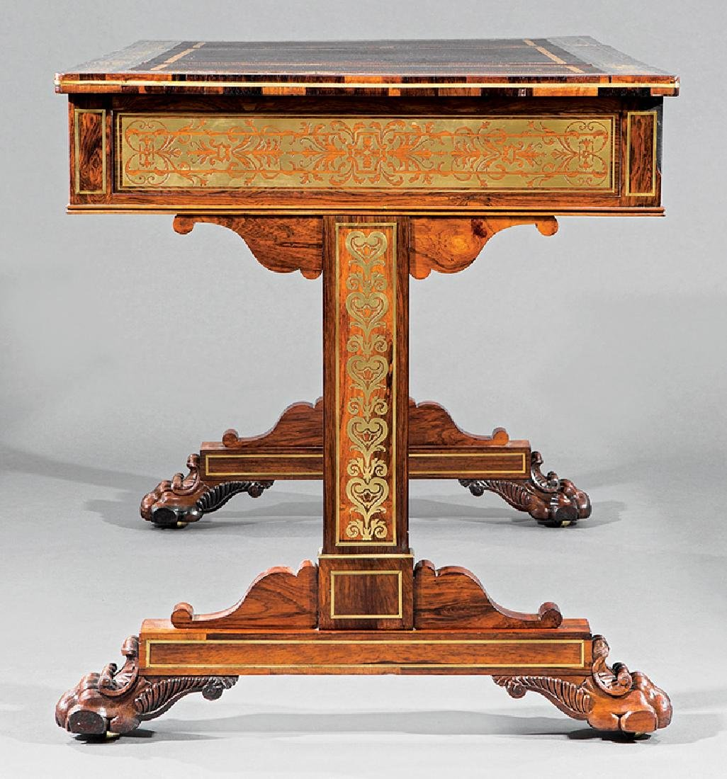 Regency Brass Inlaid Rosewood Games Table - 6
