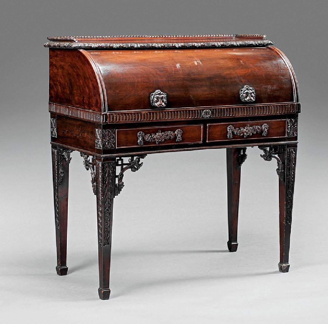 Chippendale-Style Carved Mahogany Cylinder Desk