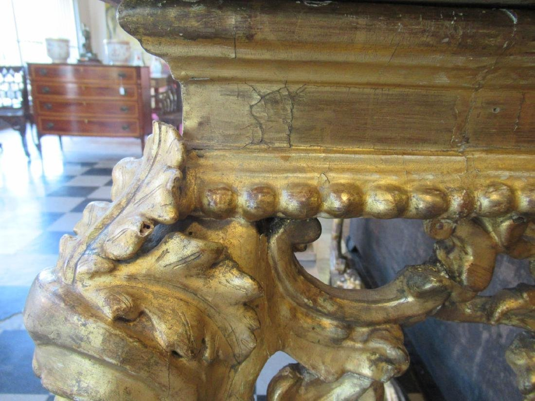 Italian Rococo Carved Giltwood Console Table - 8