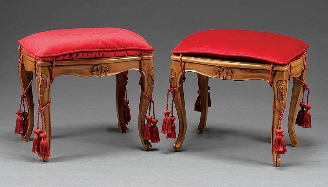Pair of Louis XV-Style Carved Fruitwood Benches