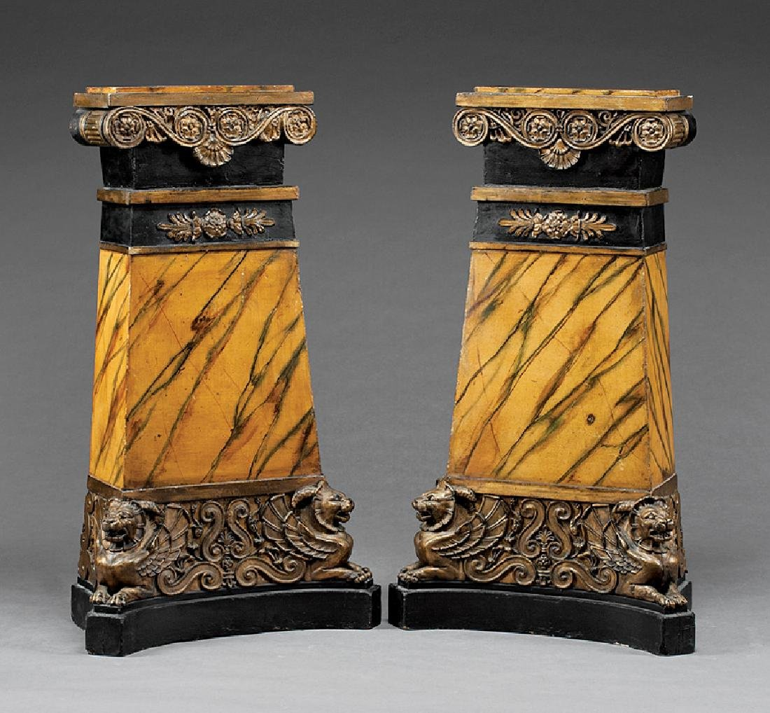 Faux Marbre, Ebonized and Parcel Gilt Pedestals