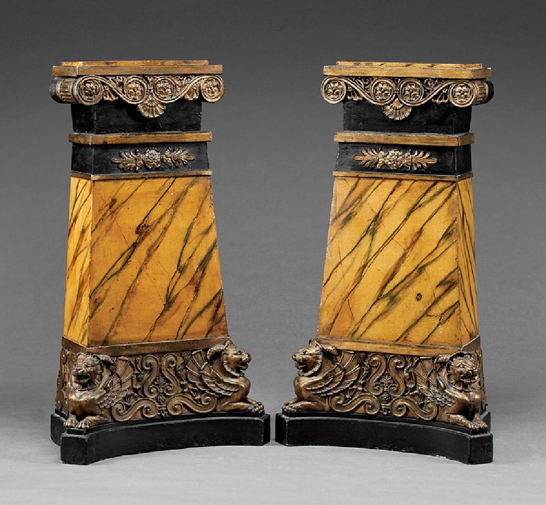 Faux Marbre, Ebonized and Parcel Gilt Pedestals