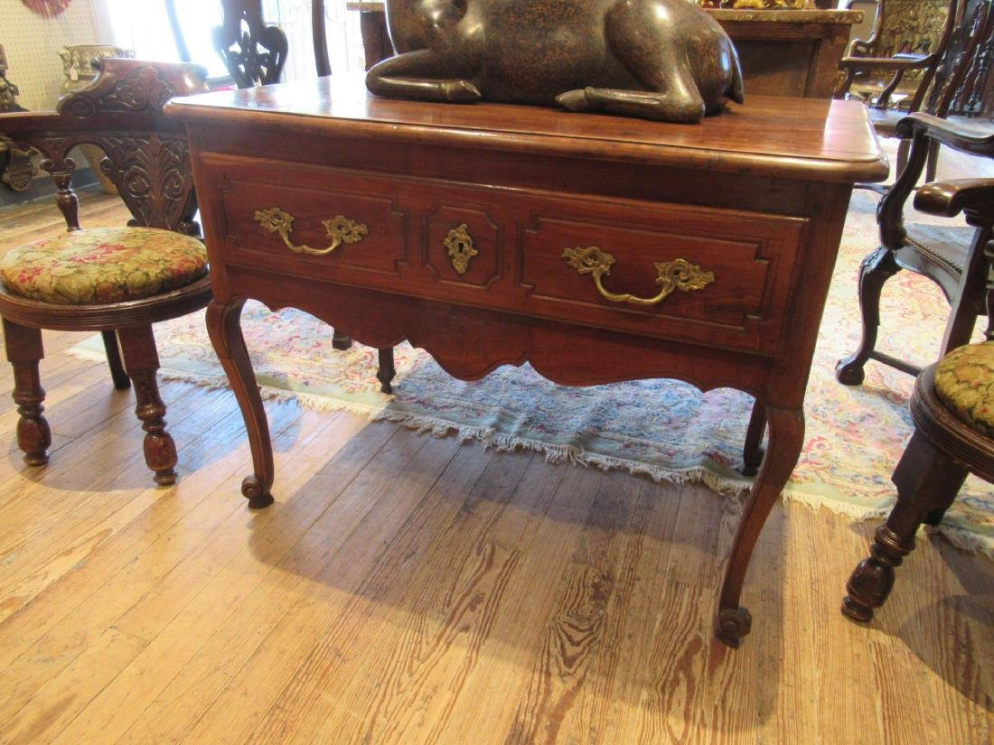 French Provincial Carved Walnut Console Table - 2