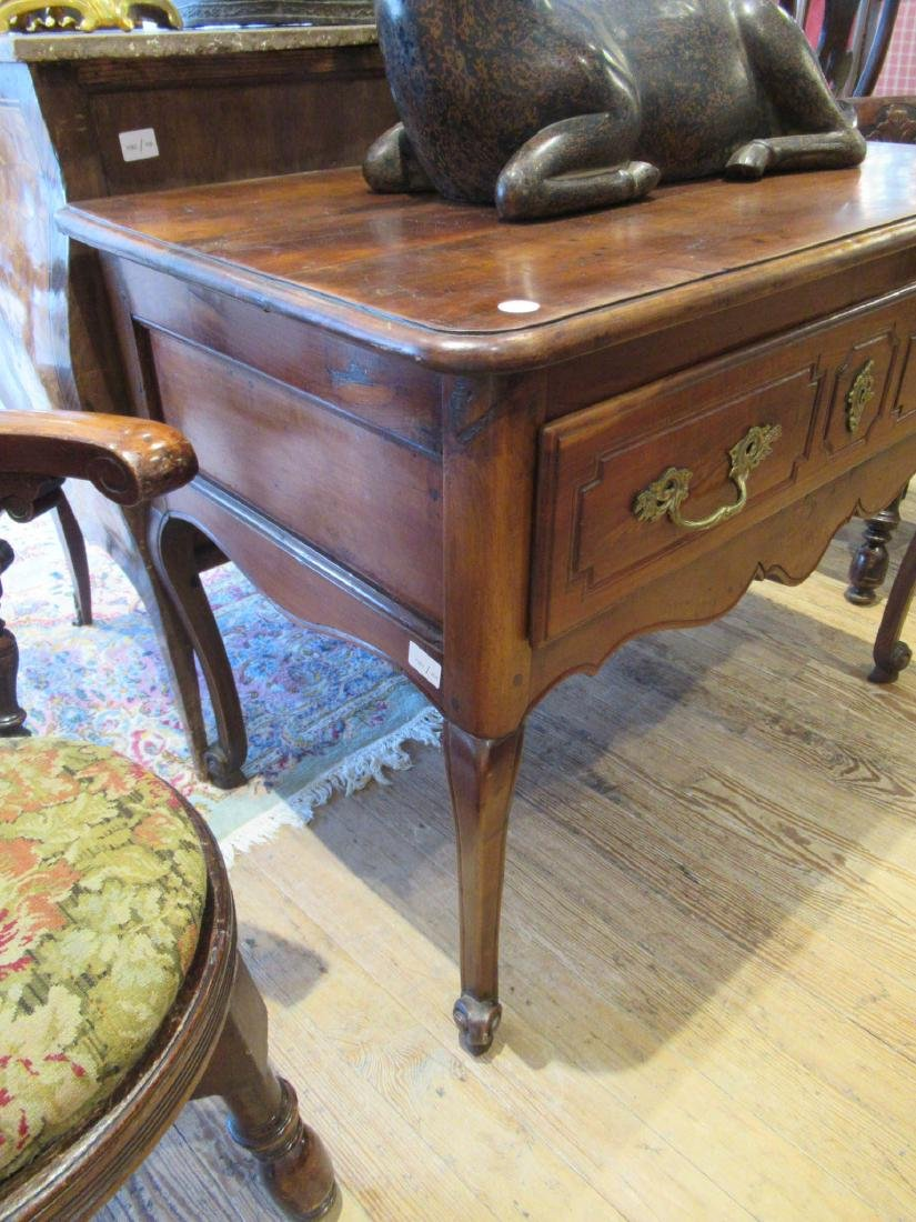 French Provincial Carved Walnut Console Table - 4