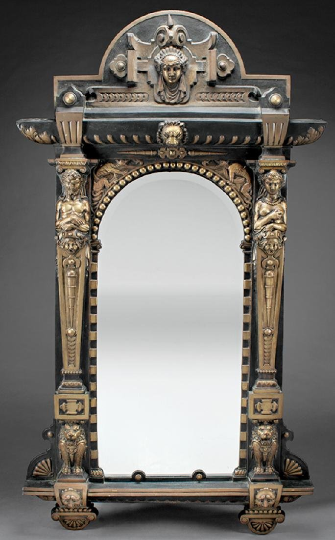 Second Empire-Style Patinated Metal Mirror