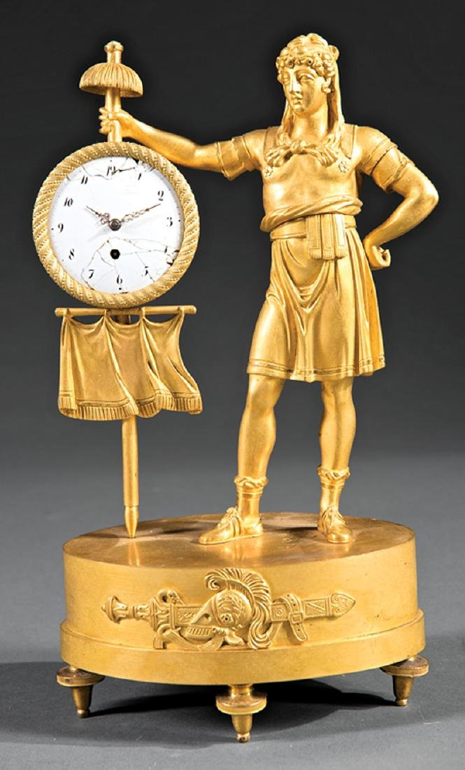 Empire Gilt Bronze Figural Clock