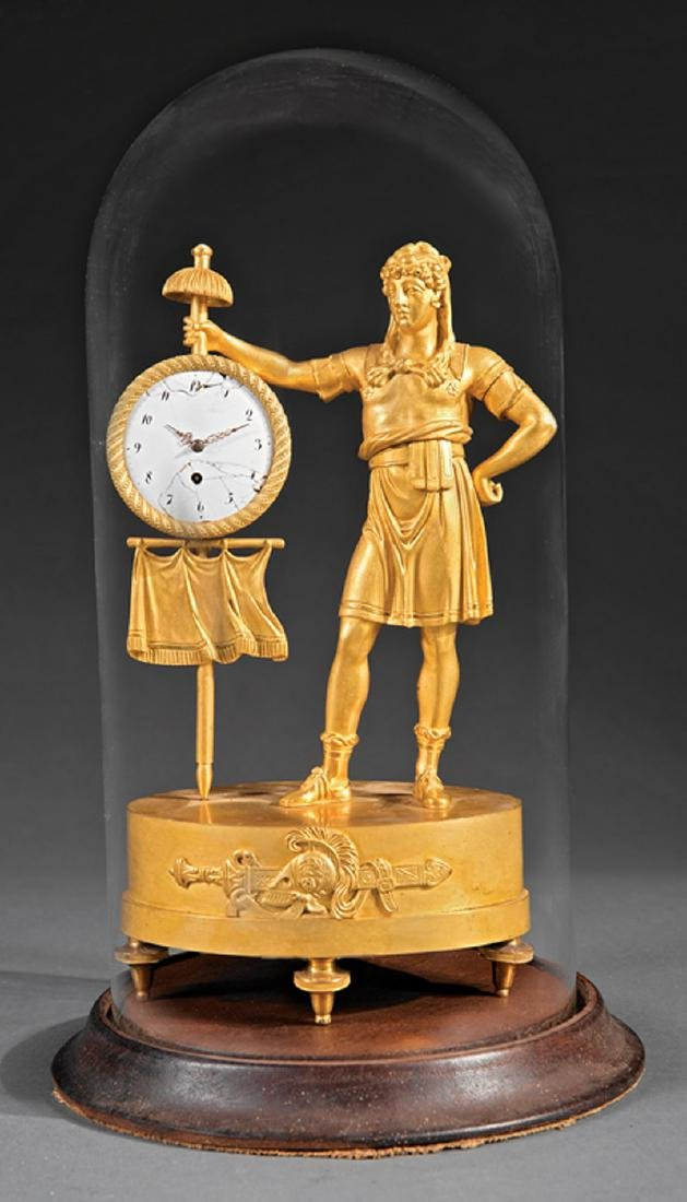 Empire Gilt Bronze Figural Clock - 2