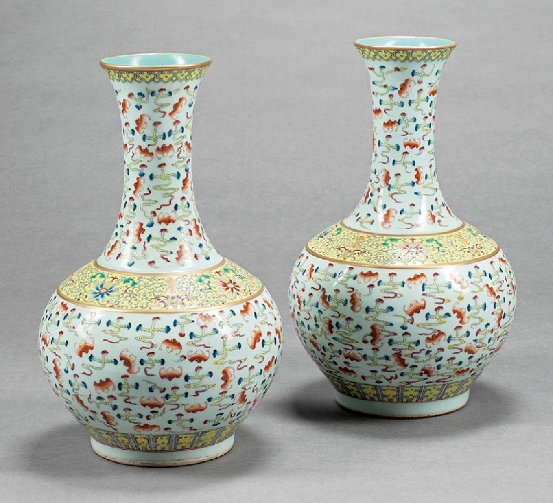 Chinese Famille Rose Porcelain Bottle Vases