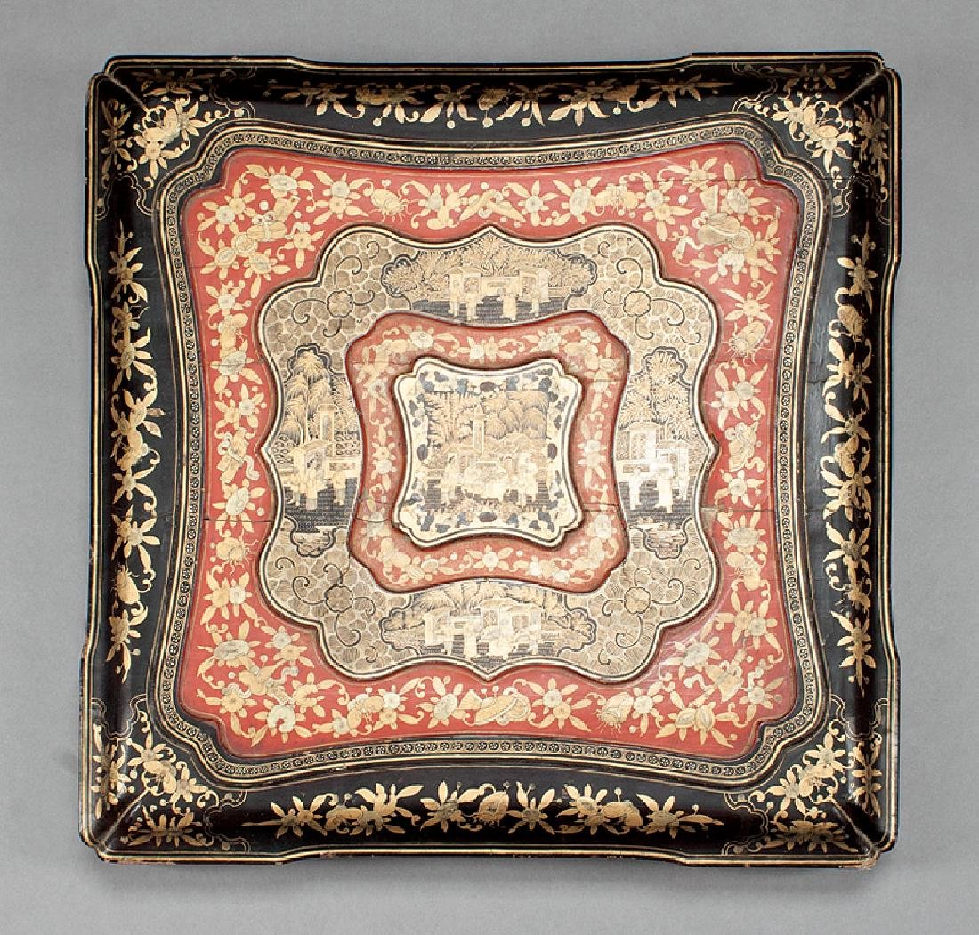 Chinese Gilt Decorated Red, Black Lacquer Box