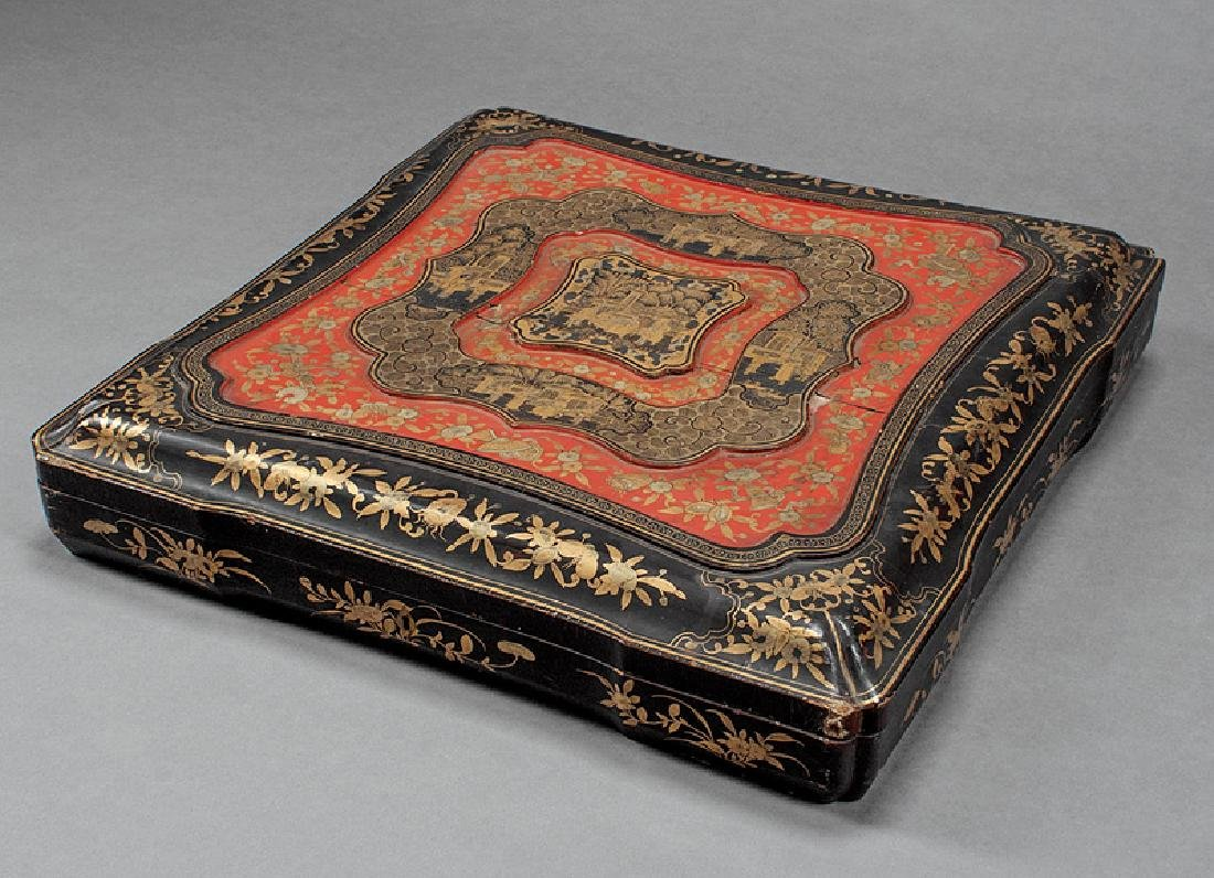 Chinese Gilt Decorated Red, Black Lacquer Box - 2