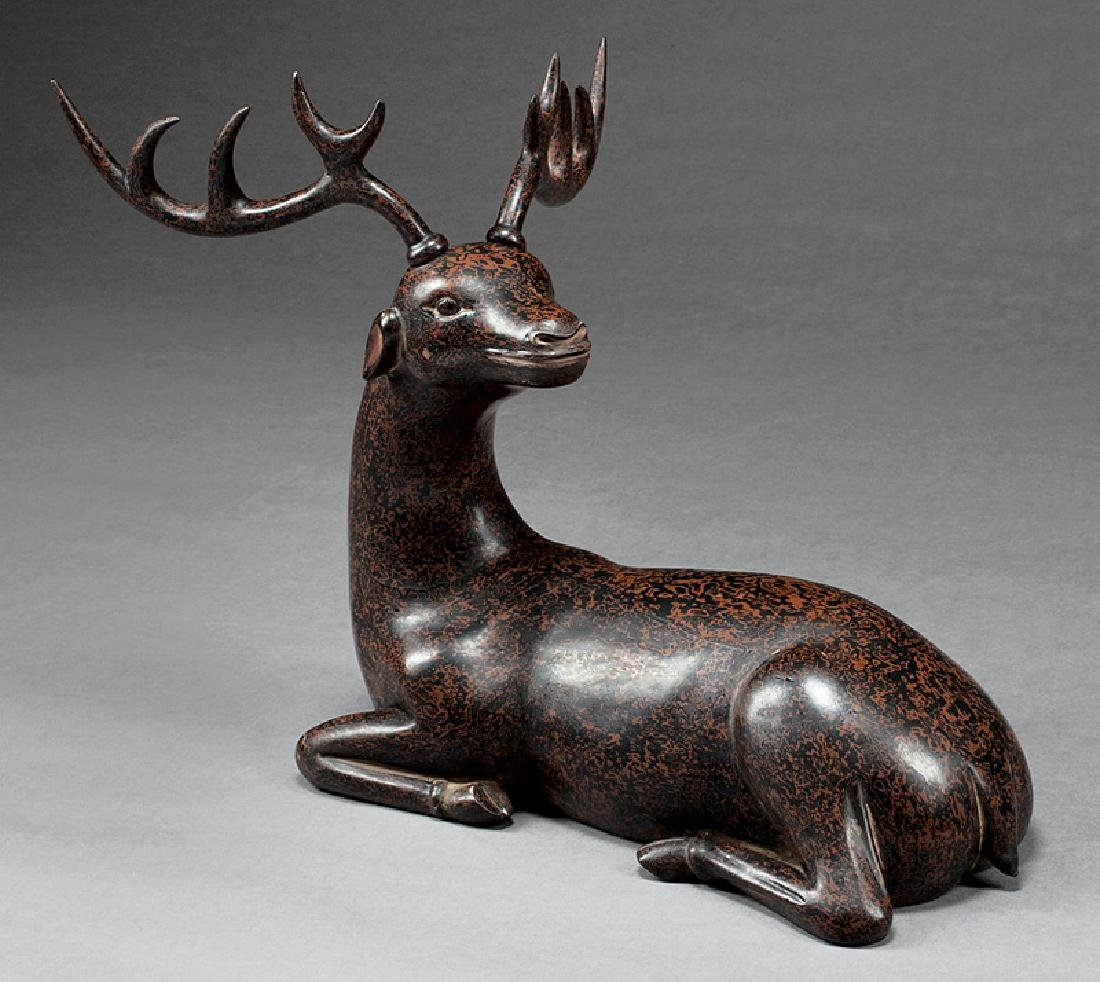 Chinese Xipi-Style Lacquered Wood Figure of Deer