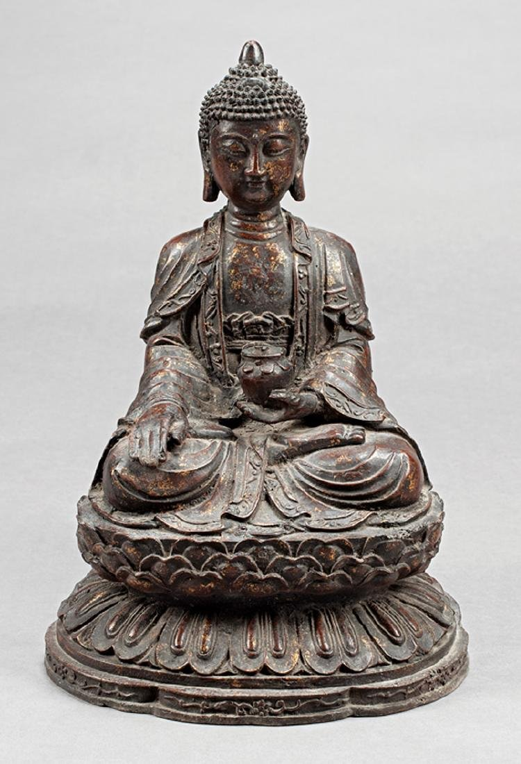Chinese Gilt and Patinated Bronze Bhaisajyaguru