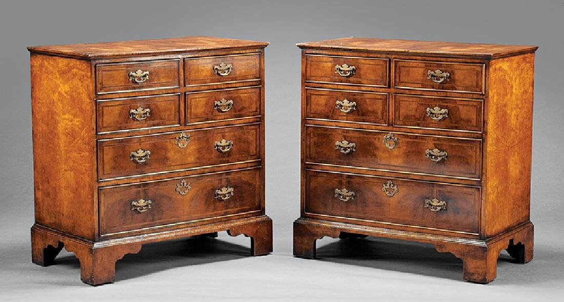 Inlaid and Burled Walnut Chests of Drawers