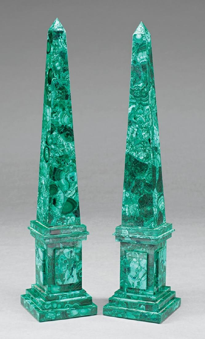 Pair of Malachite Obelisks