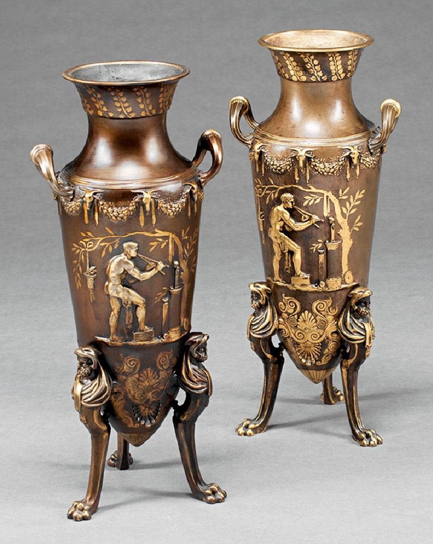 Neoclassical-Style Gilt and Patinated Bronze Urns